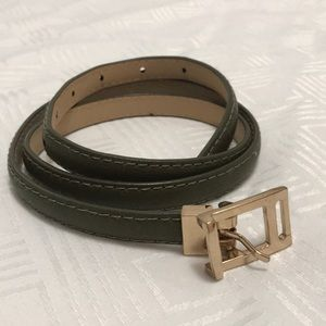 Army green skinny belt